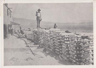Silver Bullion ready for shipment across Owens Lake from Keeler - 1909.