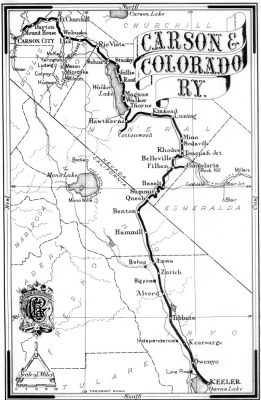 A black and white image of an old Carson & Colorado Railway map in Owens Valley.