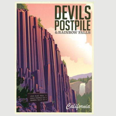 Devils Postpile Retro Poster