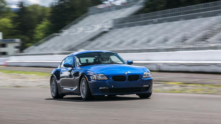 Blue BMW On A Track