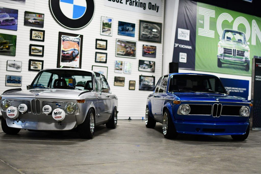 Blue and Gray BMW 2002s