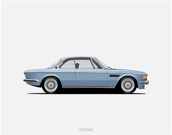 A baby blue BMW 3.0CS