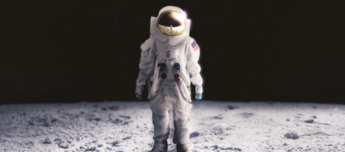 high astronaut on moon