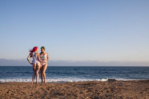 Models at the beach