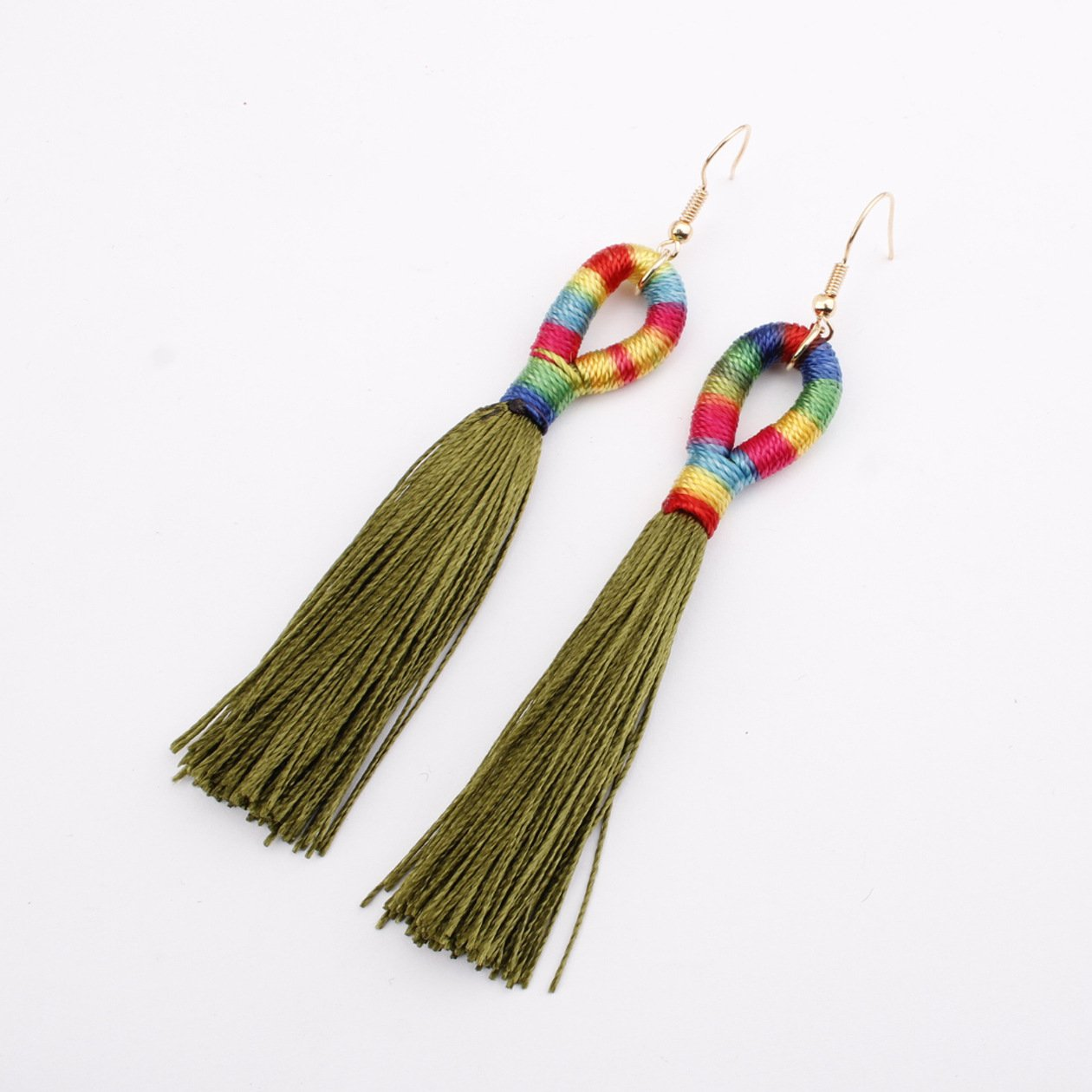 Rainbow and Red Tassel Earrings