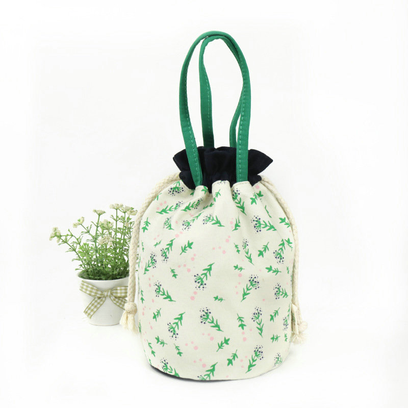 Ferns and Flowers Drawstring Makeup Bag