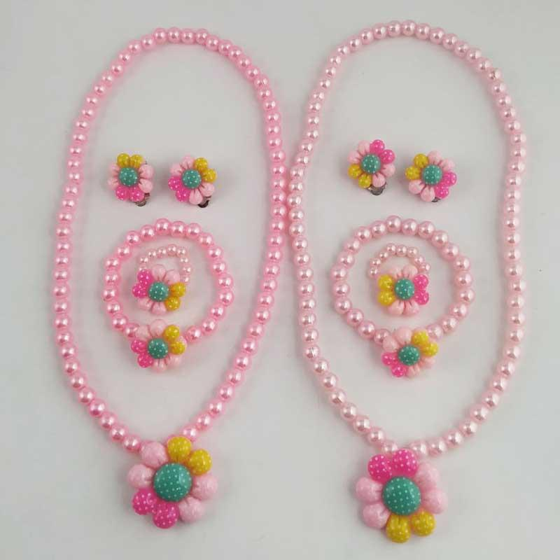 Flower and Pink Beads Girls' Jewelry Set