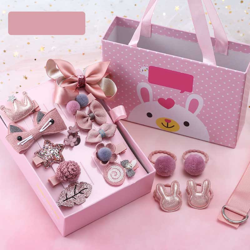 Pink Teddy Hair Accessories Gift Set (18 Pieces/Set)