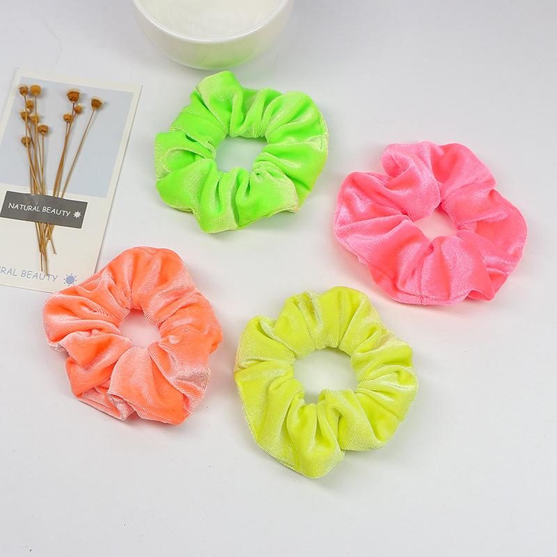 Fluorescent Flannel Hair Scrunchie
