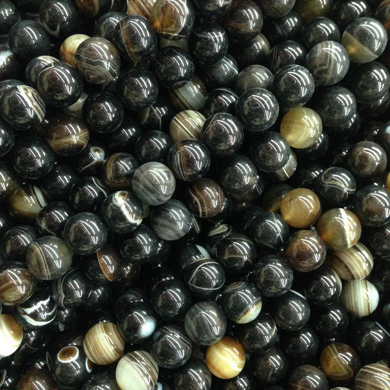 Twisted Striped Black Agate Stone Beads