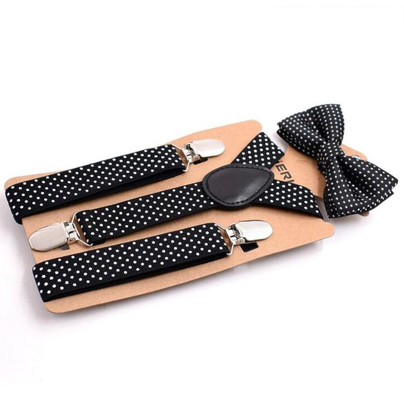 Polka Bow Tie and Suspenders Strap Set