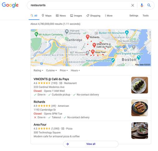 ejemplo de Google Maps Local 3-Pack para consultas de restaurantes