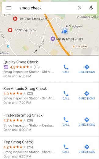 ejemplo de anuncios comerciales de marketing de Google Maps en los resultados de búsqueda