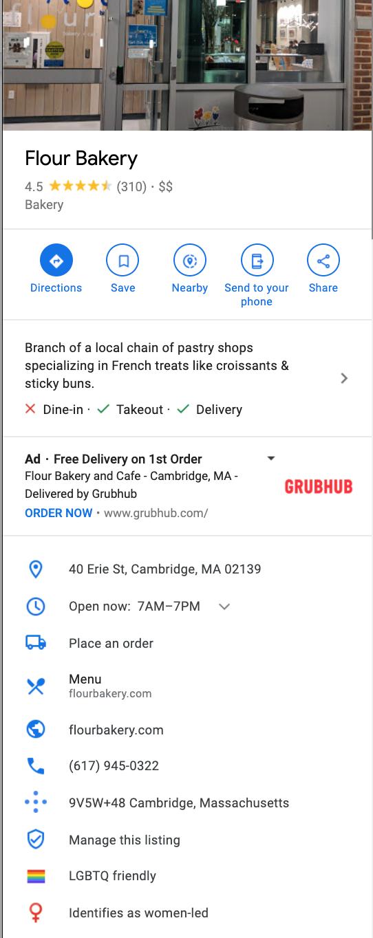 ejemplo de perfil de marketing optimizado de Google Maps para un restaurante