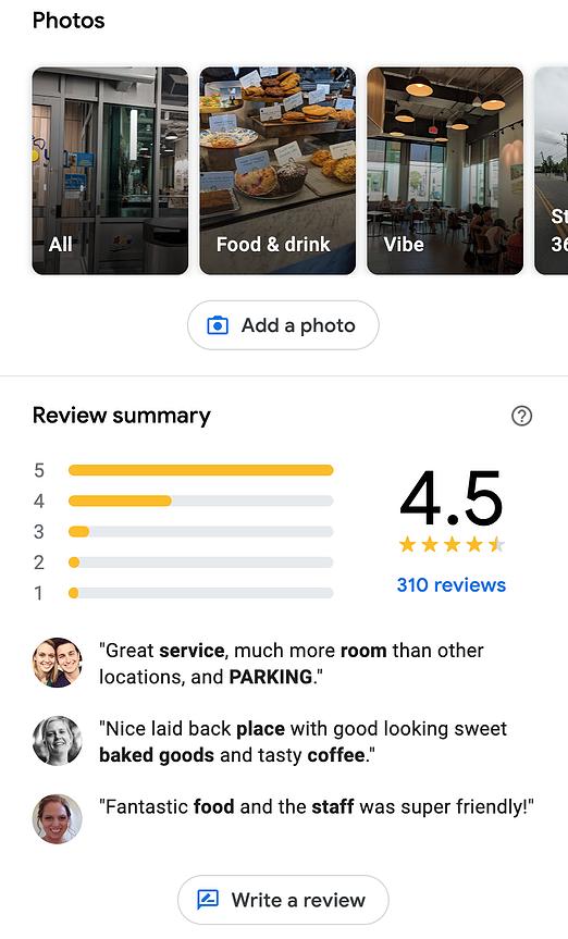 ejemplo reseñas y fotos de perfiles comerciales de google maps