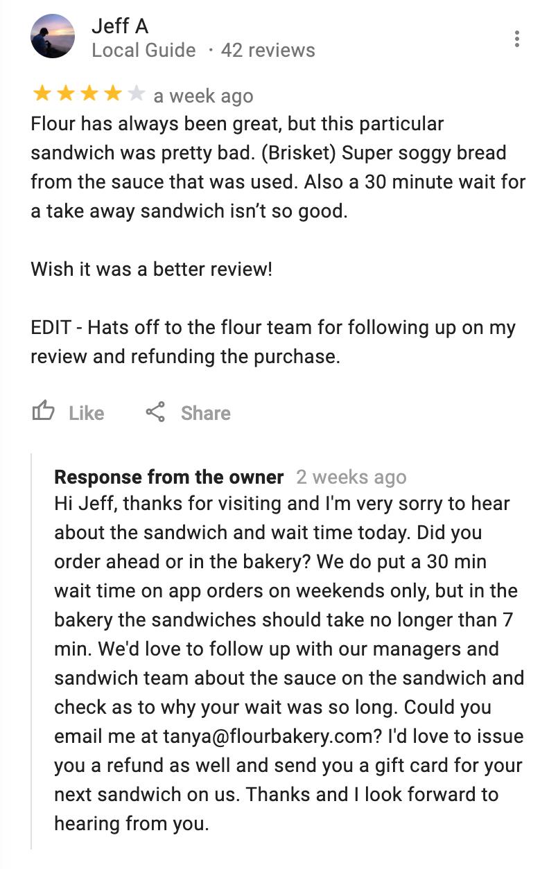 Ejemplo de comentarios de clientes de respuesta empresarial a Google Maps
