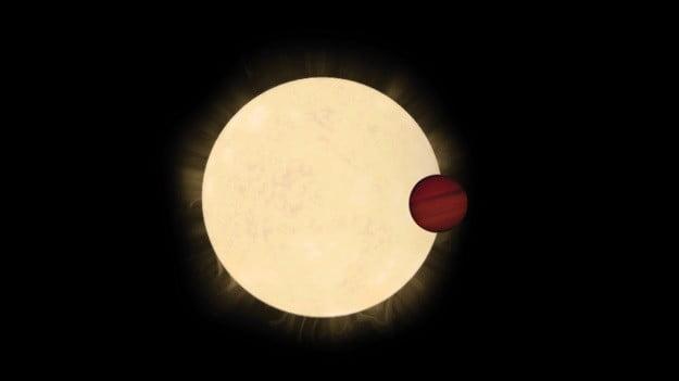Impresión artística de la estrella HD 93396 y su planeta Júpiter caliente, KELT-11b.
