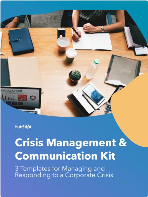 imagen de portada del kit de comunicaciones y gestión de crisis de hubspot