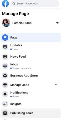 Herramientas de publicación en el menú de la izquierda de la página de negocios de Facebook