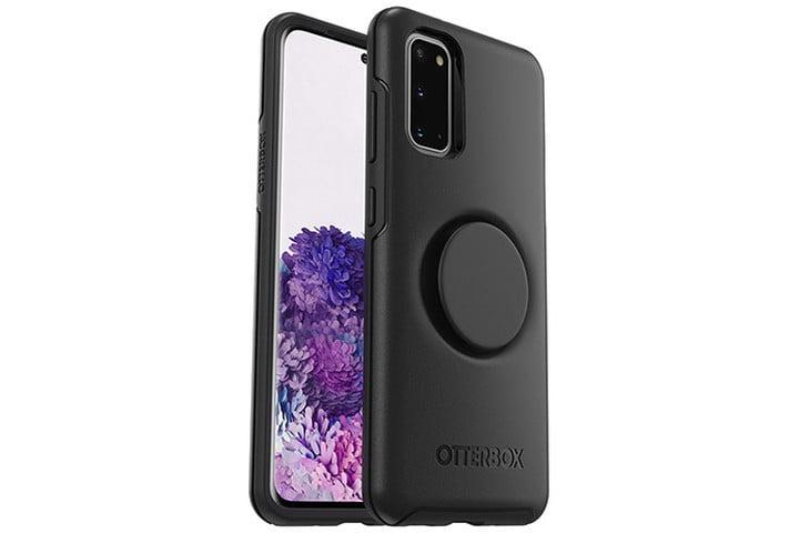 La imagen muestra el teléfono Samsung Galaxy S20, vista frontal y posterior, en una funda negra OtterBox Otter + Pop Symmetry