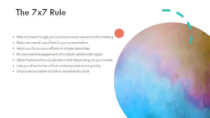 ejemplo de la regla 7x7 en powerpoint que todavía necesita algunas mejoras