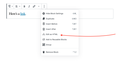 "Flecha roja apuntando a ""Editar como HTML"""