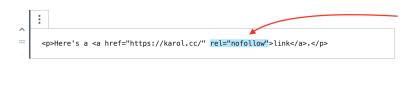 Atributo nofollow dentro de la etiqueta HTML