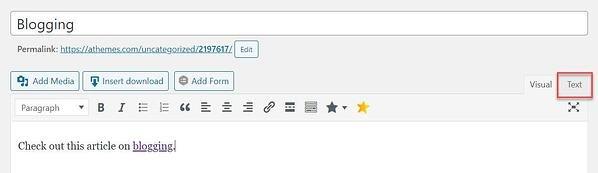 Pestaña de texto de WordPress