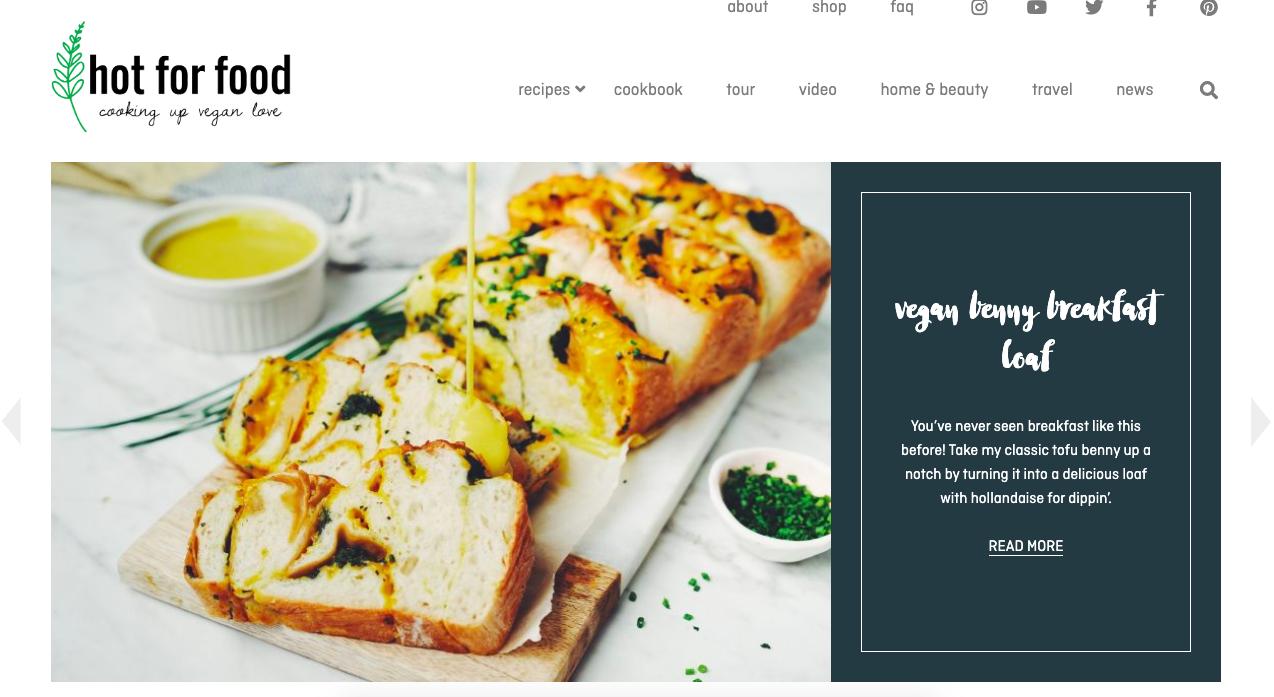 Un ejemplo de un blog bien llamado, 'Hot for Food'