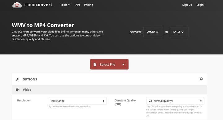 CloudConvert WMV a MP4