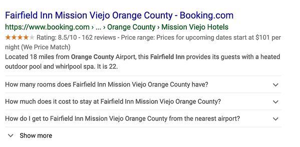 Datos de marcado del esquema de Fairfield Inn en Google.