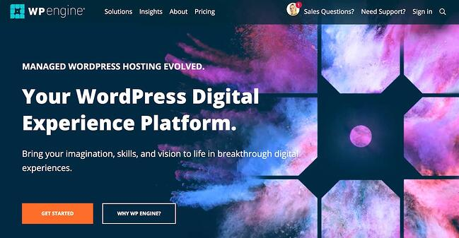 product page for wp engine wordpress hosting