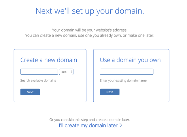 Bluehost signup page for WordPress website