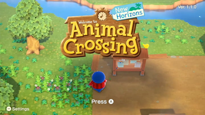 Pantalla de título de Animal Crossing New Horizons
