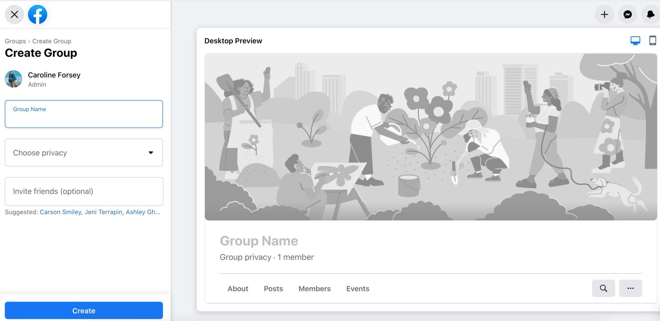 panel para crear un nuevo grupo de Facebook