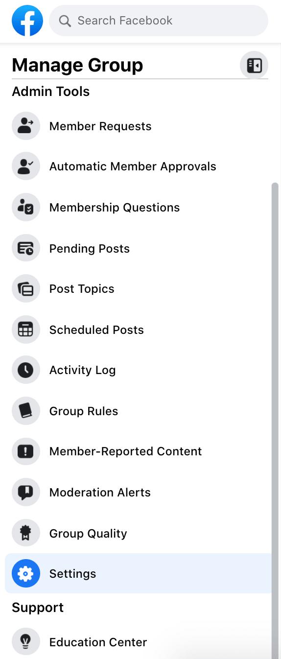 administrar el panel de grupo en facebook