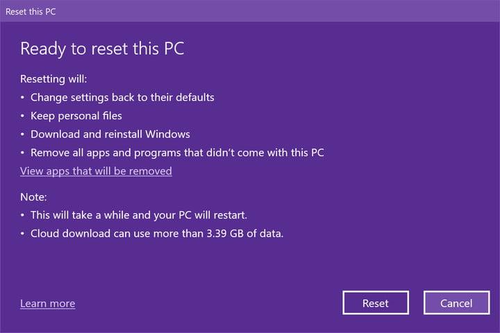 Listo para reiniciar esta PC