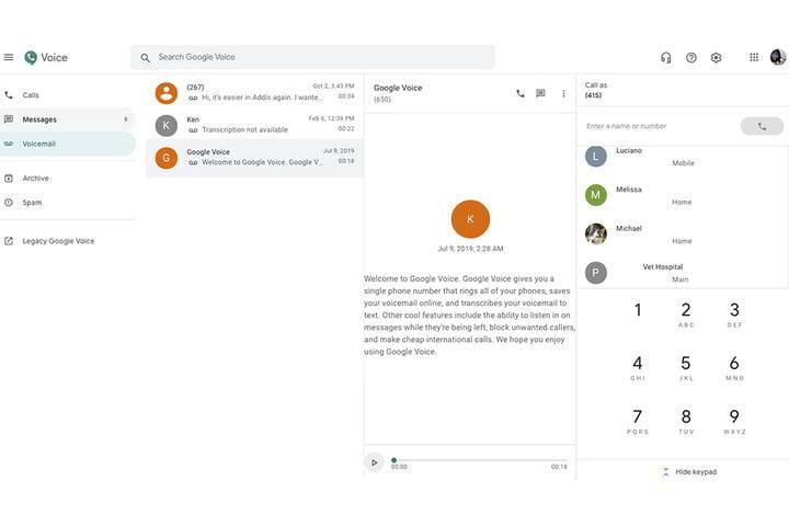 Google Voice en la Web