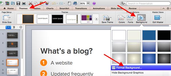 PowerPoint formatting background.