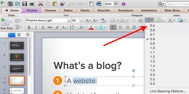 PowerPoint line spacing.