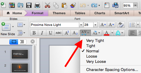 PowerPoint character spacing.