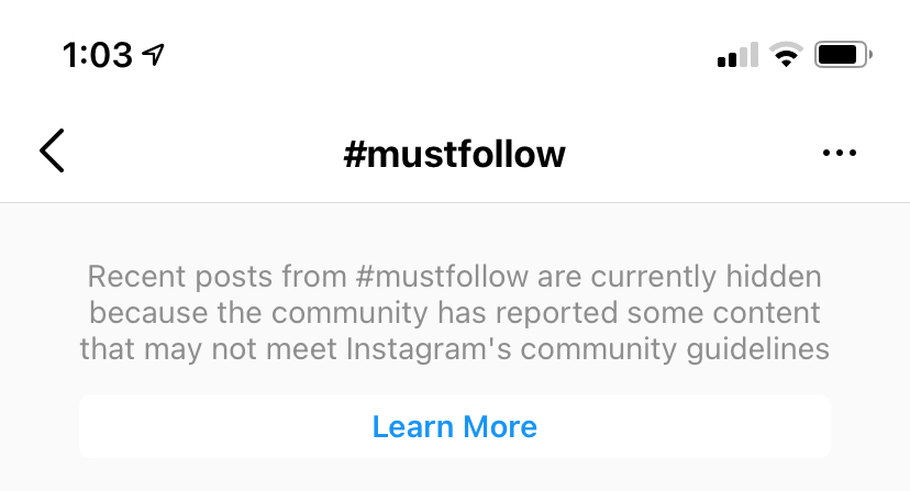 Banned hashtag message on Instagram for #mustfollow hashtag