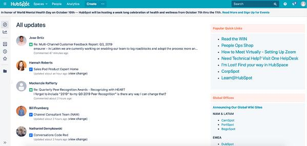 HubSpot uses internal hub to communication to employees.