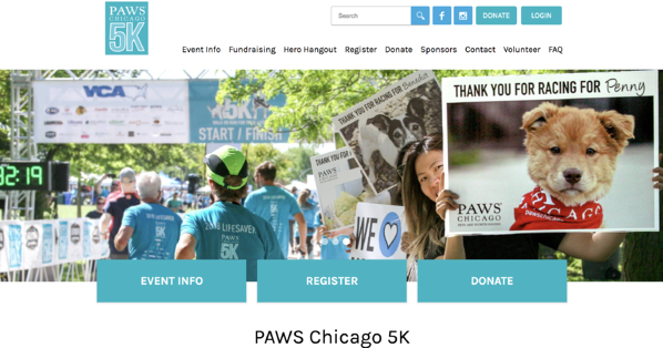 PAWS Chicago 5K nonprofit marketing event page