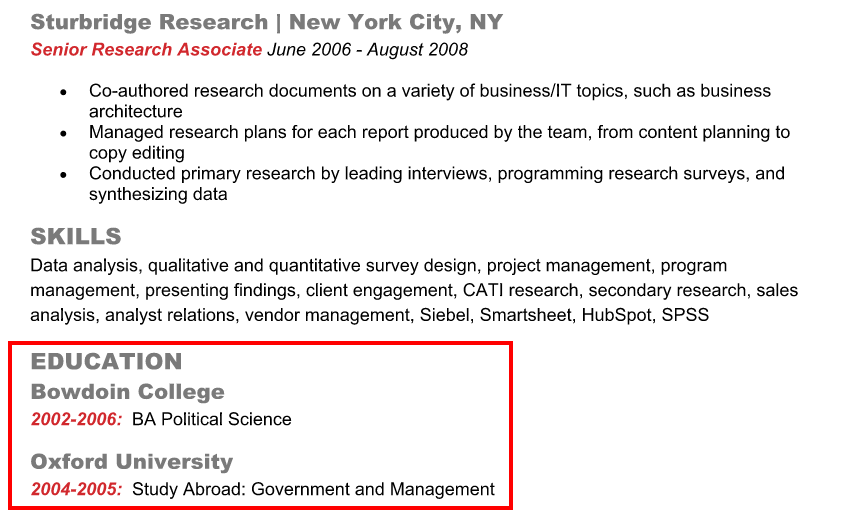 example of education on a resume