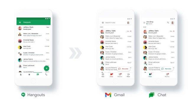 mostrando la diferencia entre los hangouts de Google y el chat de Google