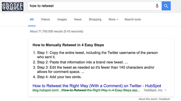 google search example how to retweet