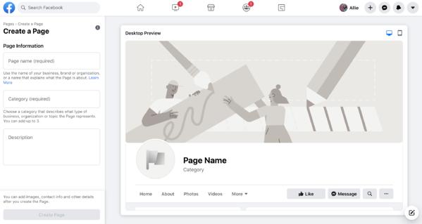 facebook crea una página de negocios