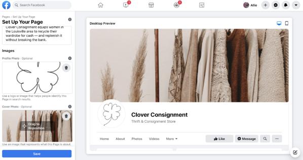 página de negocios de facebook agregar imágenes