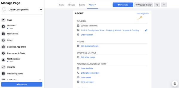 página de negocios de facebook editar información de la página